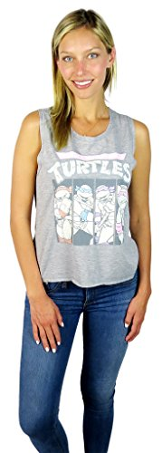 Teenage Mutant Ninja Turtles Womens Graphic Tank Top (Medium, Grey Heather) (Female Ninja Turtles)