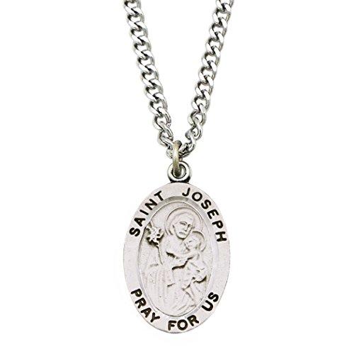 Rosemarie Collections Religious Saint Medal Pendant Necklace (St Joseph) ()
