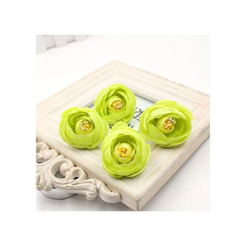 huayun Silk Rose Tea Bud Artificial Flower Head for Home Wreath Scrapbooking Decoration DIY Handcraft Fake Flowers,Green