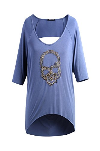 Nyngei Womens 3/4 Sleeve Dolman Top Solid Skull Hollow Back (Large, Blue)