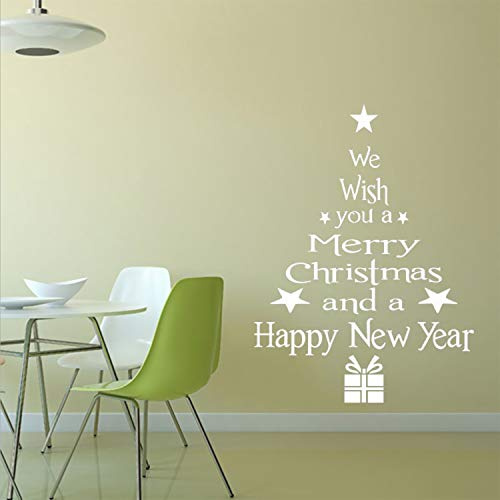 Prabahdak Xmas Tree Wall Sticker Merry Christmas Window Sticker Clings DIY Letters Christmas Tree Festival Greetings Wall Sticker Decals for Christmas Home Decoration Supplies(White)