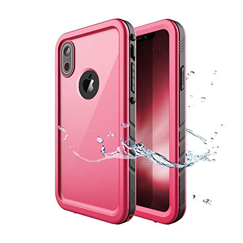 iPhone XR Waterproof Case, Waterproof iPhone XR Shockproof Full-Body Rugged Cover Case with Built-in Screen Protector for Apple iPhone XR 6.1 Inch 2018 Release -(Pink)
