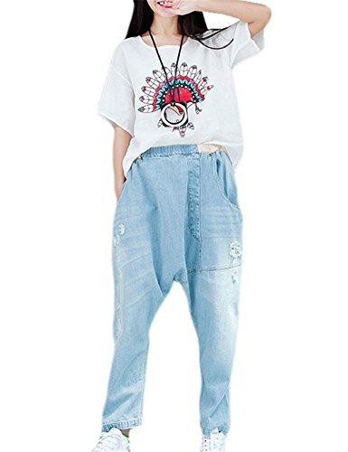 Sciolto Jeans Donna Foro Azzurro Casuale del Pantaloni Irregolare wHqaxHvFS