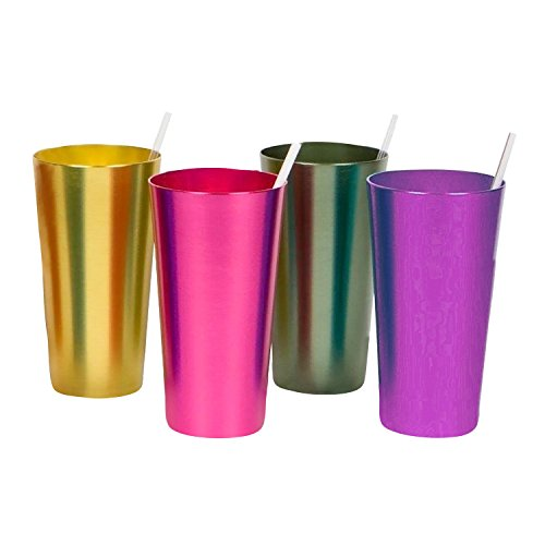 Aluminum Tumblers - 16 Ounce - Set of 4 Different Vintage Style Colored Metal Cups