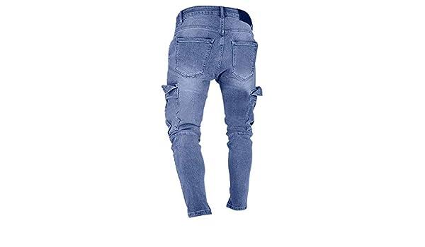 Pantalones de hombre largos de tela vaquera corte cortado pantalón ...