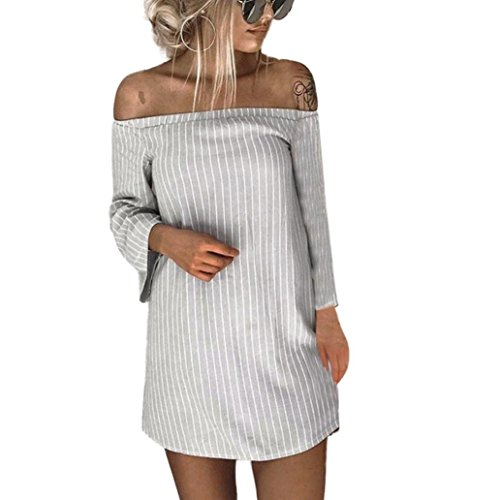 NEARTIME Promotion❤️Women Dress, Fashion 2018 Autumn Fashion Women Sexy Pullover Skirts Long Sleeve Striped Slash Neck Mini Dress ()