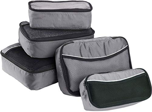 Bago 5 Set Packing Cubes For Travel - Luggage & Bag Organizer - Pack Like a Pro (Gray)