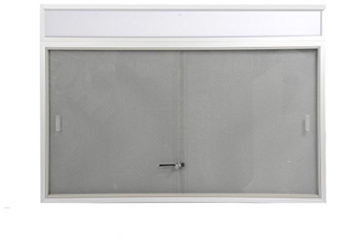 Displays2go 48 x 36 Inches Enclosed Bulletin Board with Sliding Glass Doors with Separate Header Area, 4 x 3 Inches Fabric Message Board-Indoor Use Only, Aluminum, Gray (FBSD43HDSG) (Board Indoor Bulletin Aluminum Enclosed)