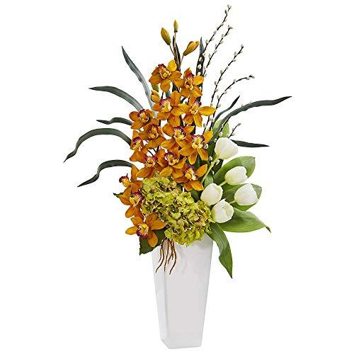 MARJON Flowers Cymbidium Orchid, Hydrangea and Tulip Artificial Arrangement Silk, -
