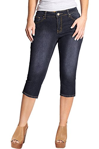 2LUV Women's Stretchy 5 Pocket Skinny Capri Jeans Black Denim 1 (Capri Pocket Denim)