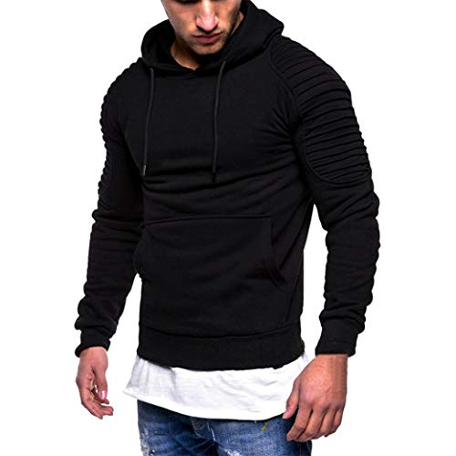 Vicbovo 2018 Hipster Mens Autumn Winter Slim Fit Solid Hoodie Sweatshirt Ruched Long Sleeve Pullover Tops with Pocket (Black, XL) by Vicbovo (Image #4)
