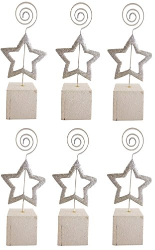 Pack Of 6 Silver Star Glitter Place Card Holders - Christmas Dinner Parties - Christmas (Silver Star Place Card Holder)