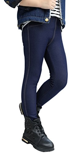 UwantC Kids Girl Winter Warm Fleece Lined Elastic Thick Leggings Long Pants Trouser Denim Blue,US 8-10T,Tag (Girls Fleece Lined Jeans)