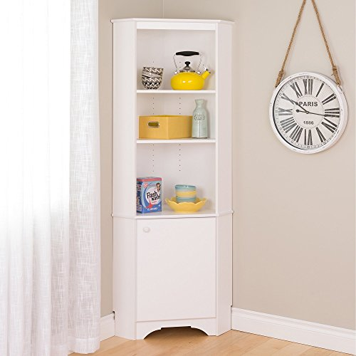 Prepac Elite Winslow White Tall 1-Door Corner Storage Cabinet Closet Shelf Wall