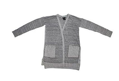 Cardigan Calvin Ribbed Klein (Calvin Klein Jeans Ladies Long Cardigan (Flannel Heather, L))