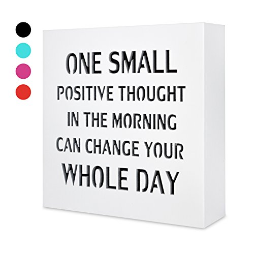 KAUZA One Small Positive Thought by, 5,5in x 5,5in Wall Art Plaques, Sign, Motivational Gifts, Birthday, Inspirational Plaque, Home Interior & ()