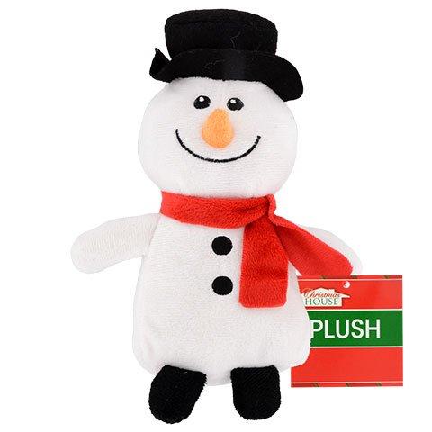 Christmas House Sitting Plush Snowman, 10 in.