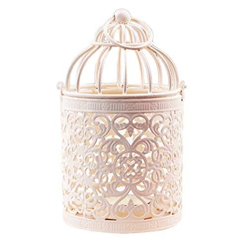 Demana Hojas jaula de pájaros candelabro hogar mobiliario creativo regalo retro candelabro Blanco