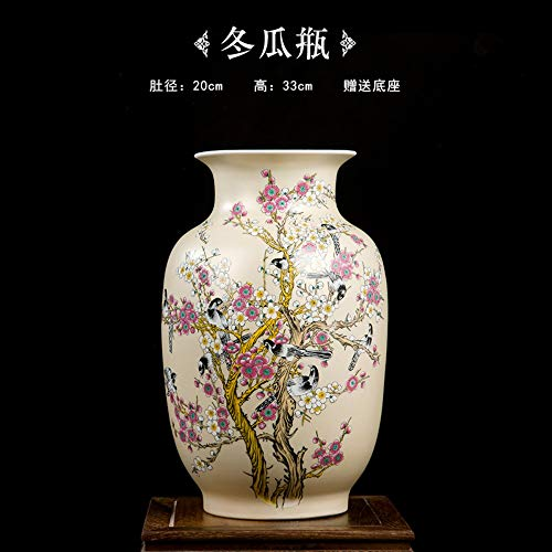 Decorative Vases for Living Room Table,Handmade Vintage Chinese Ceramic Beige Wax Shaped Shaped Vase for Home Decor,Hand Painted Colorful Birds and Flowers,Modern Elegant China Porcelain Artwork