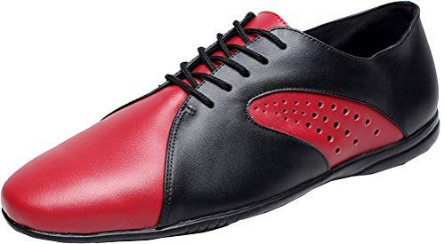 Abby Aq-9017 Scarpe Da Ballo Uomo Tacco Piatto Stringate In Pelle Tinta Unita Rosso