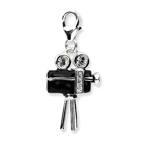 (Sterling Silver 3-D Enameled Movie Camera w/Lobster Clasp Charm Pendant )