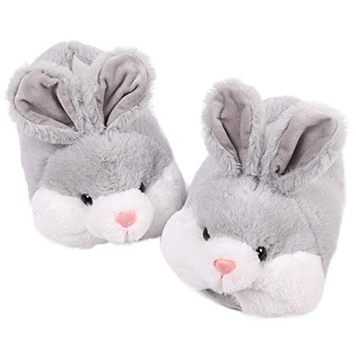 Classic Bunny Slippers | Fuzzy Animal Slippers | Cozy Cute Rabbit Slippers| Easter Bunny Costume Gift| Soft Memory Foam Anti-Slip (8.5-10.5, Grey)