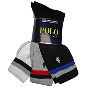 Polo Ralph Lauren Classic Cotton Crew Socks Black/Grey/White (pack of 3)