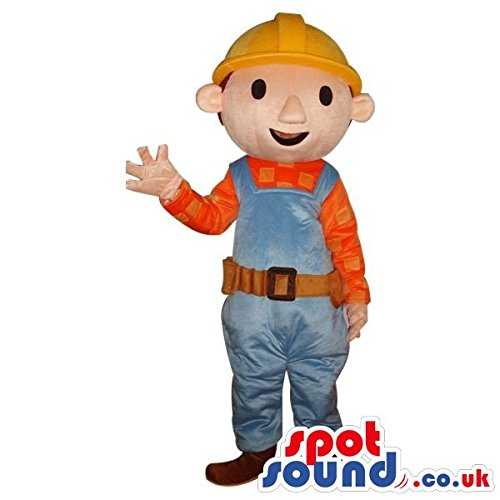 Bob The Builder Costume For Adults (Bob It Builder Children'S Cartoon Character SPOTSOUND US Mascot Costume)
