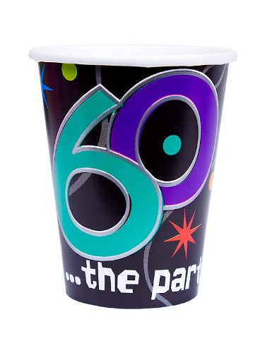 60 the Party Continues Paper Cups Package of 8