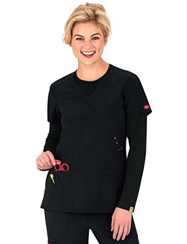 Solid Scrub Top (Dickies Xtreme Stretch Women's Mock Wrap Solid Scrub Top Large Black)