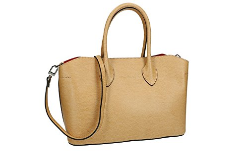 Bolsa mujer de mano bandolera PIERRE CARDIN beige cuero Made in Italy VN1682