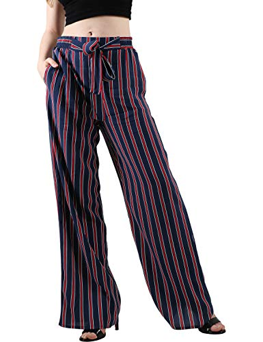 (Ma Croix Womens Linen Pants Drawstring Casual Lantern Palazzo Trousers with Pockets (Large, 3ba02_Eclipse Navy))