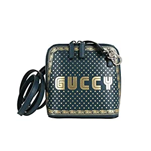 Gucci Women's Dusty Turquoise Leather Guccy Sega Script Dome Mini Bag 511189 3080