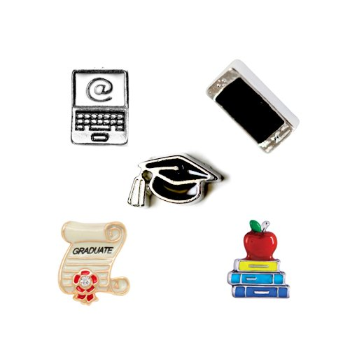 5 Pc School Theme Set Floating Charms For Floating Lockets and Jewelry- Free Shipping (Exclusively Sold by HOTBUYKING) (School)