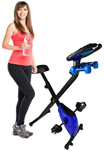Cheap Kleta Bikes Cross Trainer Folding Magnetic Exercise Bike with Dumbbells