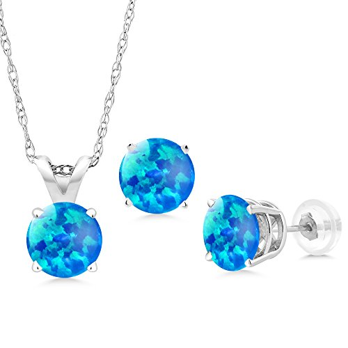 1.50 Ct Cabochon Simulated Opal 14K White Gold Pendant Earrings Set With Chain