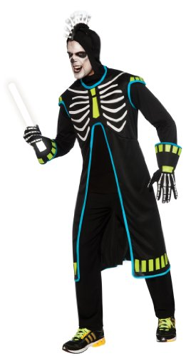 Girl's Skelee Girl Costumes (Rubie's Costume Haunted Rave Light Activated Raving Skelee Girl Costume, Black, Standard)