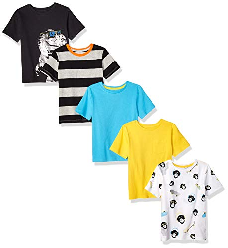 Amazon Brand - Spotted Zebra Boys' Toddler 5-Pack Short-Sleeve T-Shirts, Sunglasses, ()
