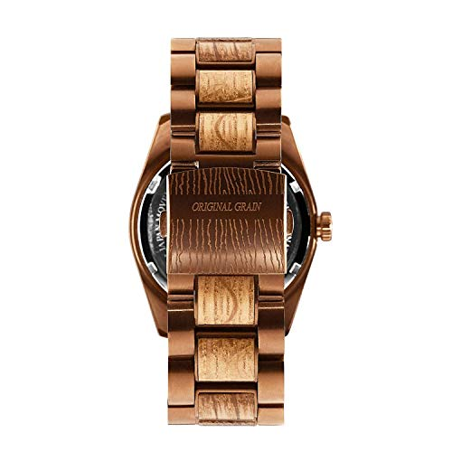 New Original Grain Wood Wrist Watch | Classic Collection 43MM Analog Watch | Wood and Espresso Stainless Steel Watch Band | Japanese Quartz Movement | Whiskey Barrel Wood