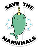 Save The Narwhals Funny Whale Sticker Decal 4' x 3.1' for laptop water bottle phone car