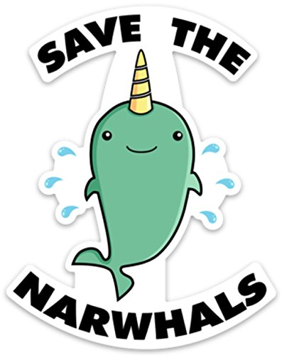 """Price comparison product image Save The Narwhals Funny Whale Sticker Decal 4"""" x 3.1"""" for laptop water bottle phone car"""
