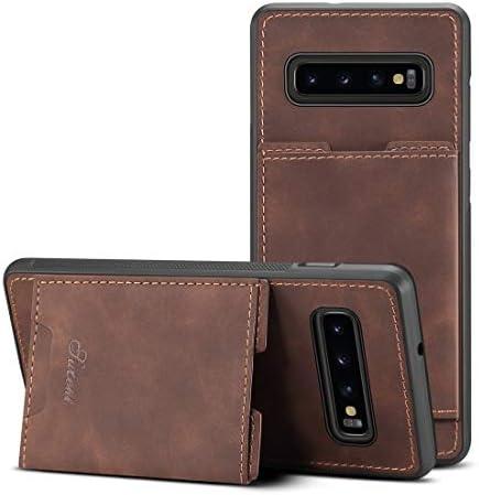 あなたの携帯電話を保護する Galaxy S10 +用のカードスロット付きPU + TPU保護ケース (色 : 褐色)