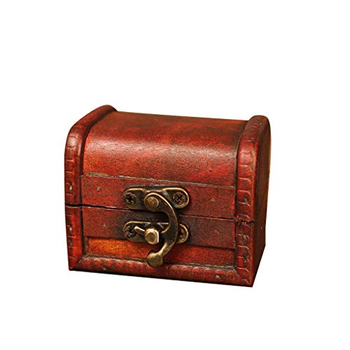 (LiboboJewelry Box Vintage Wood Handmade Box with Mini Metal Lock for Storing Jewelry Treasure Pearl)