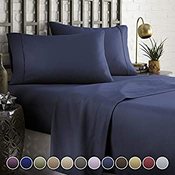 HC COLLECTION Hotel Luxury Comfort Bed Sheets Set, 1800 Series Bedding Set, Deep Pockets, Wrinkle & Fade Resistant, Hypoallergenic Sheet & Pillow Case Set(Queen, Navy Blue)