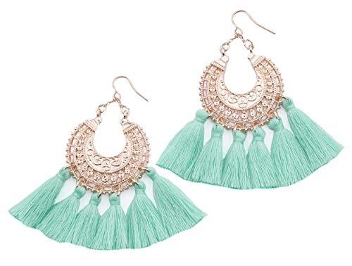 Rose Gold Tassel Earrings: Mint fringe gifts for women. Fashion drop dangle tassle earing by BLUSH & CO. (Mint)