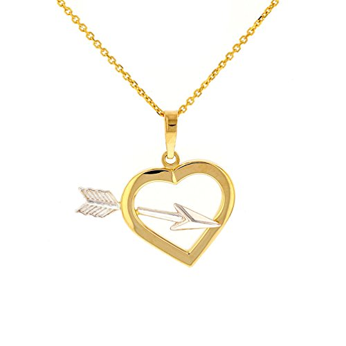 High Polish 14k Yellow Gold Open Heart with Cupid's Arrow Pendant Necklace, 18