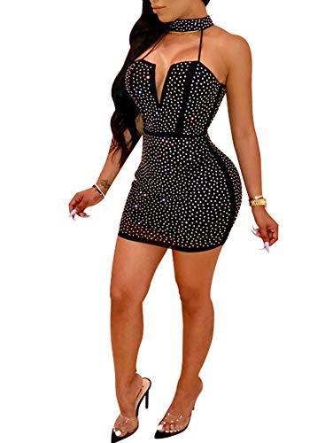 Nhicdns Women Sexy Bodycon Sleeveless Diamonds Mesh Halter Beaded Rhinestones Backless Clubwear Party Mini ()