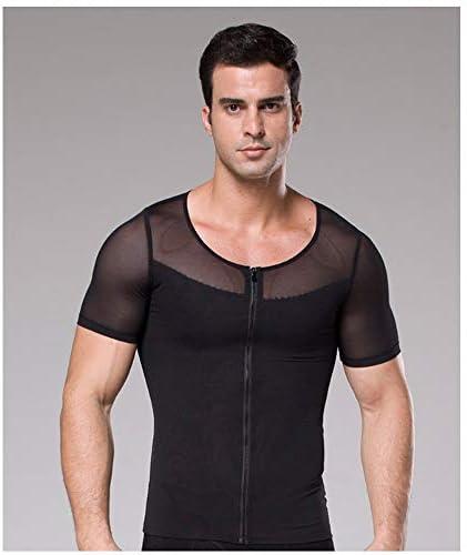 ジムの男性ボディシェイパー女性化乳房Tシャツジムアンダー腹筋腹部ジッパースリミングガードルコルセット