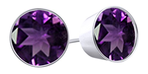 Round Cut Simulated Amethyst Bezel Set Stud Earrings In 14k White Gold Over Sterling Silver