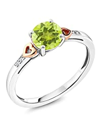 925 Sterling Silver and 10K Rose Gold Ring Round Yellow Lemon Quartz with Diamond Accent (1.21 cttw, Available in size 5,6,7,8,9)